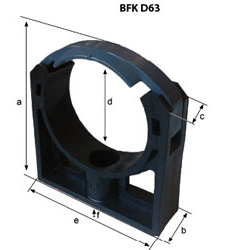 Fixing clamp BFK-D63 dimensions