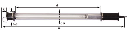 Dimensional drawing KIRA fluorescent hand lamp KE 5024